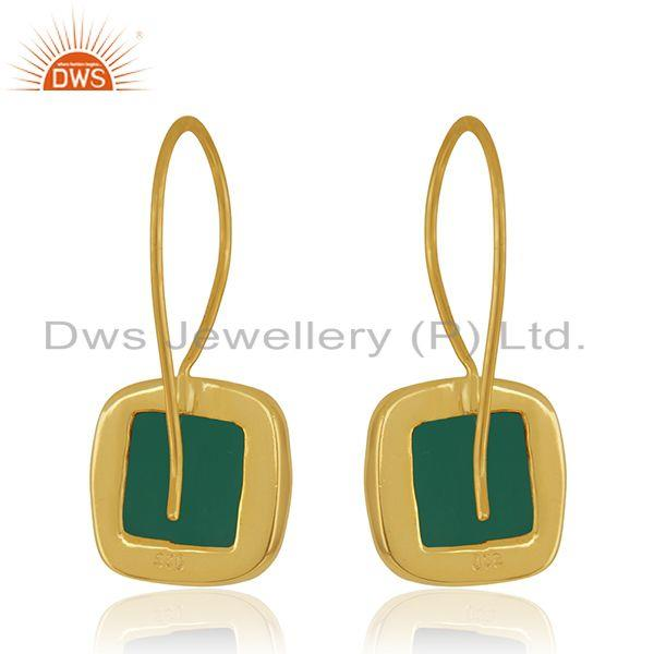 Suppliers Green Onyx Gemstone 925 Silver Yellow Gold Plated Drop Earrings Manufacturer