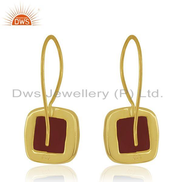 Suppliers Red Onyx Gemstone 925 Sterling Silver Gold Plated Drop Earrings Manufacturer
