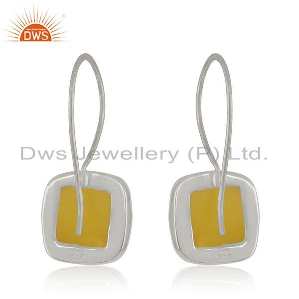 Suppliers Handmade 925 Sterling Silver Yellow Chalcedony Gemstone Girls Earrings Wholesale