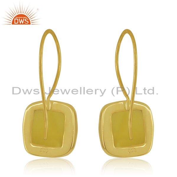 Suppliers Handmade Gold Plated 925 Silver Yellow Chalcedony Gemstone Drop Earring Supplier