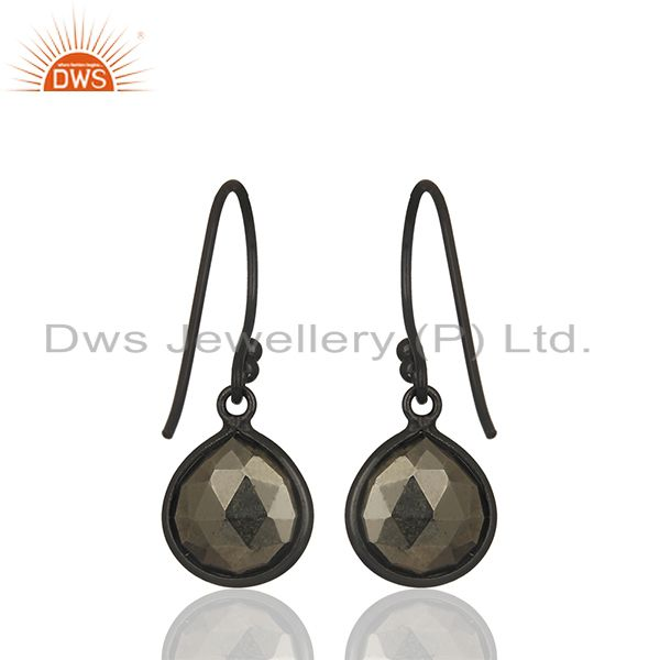 Suppliers Natural Hematite Gemstone Oxidized Sterling Silver Teardrop Earrings
