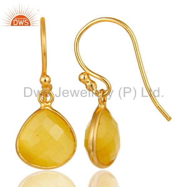 Suppliers 18K Gold Plated 925 Sterling Silver Faceted Moonstone Bezel Set Dangle Earrings