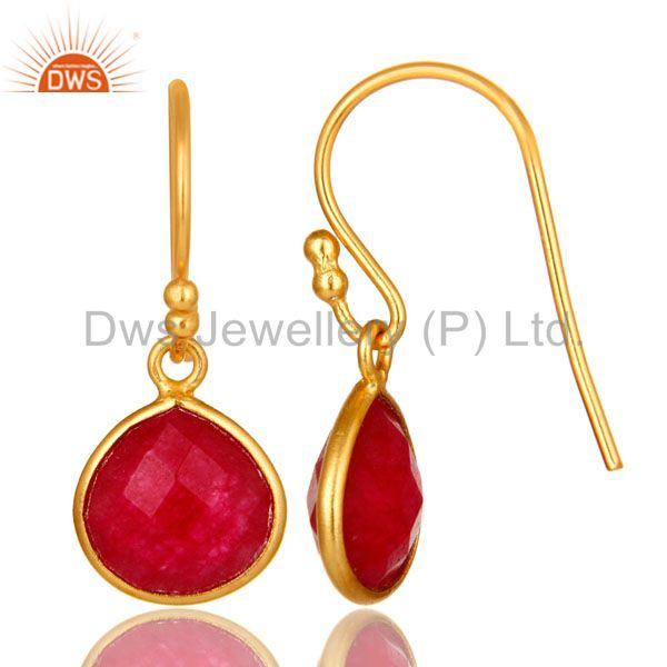 Suppliers 18K Gold Plated Sterling Silver Faceted Red Aventurine Bezel Set Dangle Earrings