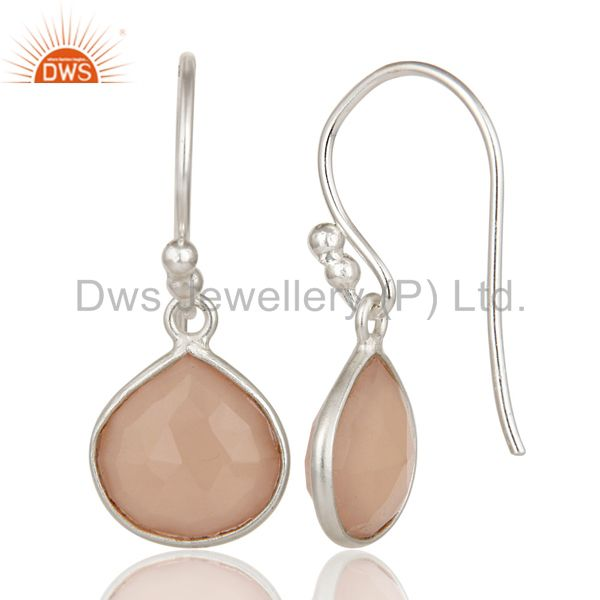 Suppliers Solid 925 Sterling Silver Faceted Chalcedony Bezel Set Dangle Earrings