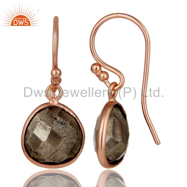 Suppliers 18K Rose Gold Plated Sterling Silver Faceted Pyrite Bezel Set Dangle Earrings