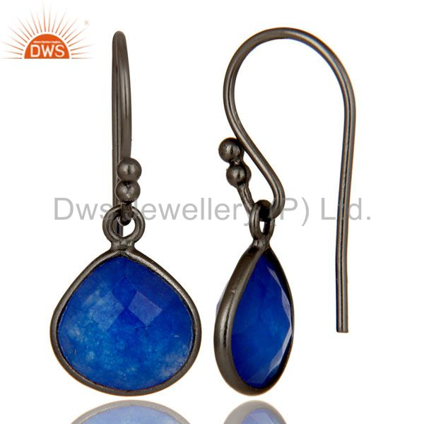 Suppliers Oxidized Sterling Silver Faceted Blue Aventurine Bezel Set Dangle Earrings