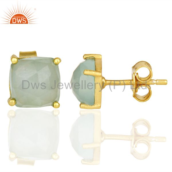 Suppliers 14K Yellow Gold Plated 925 Sterling Silver Aqua Chalcedony Stud Earrings