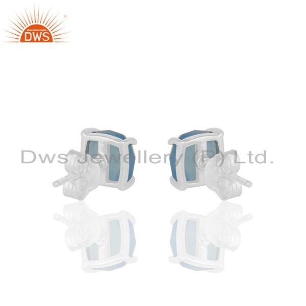 Suppliers Prong Set Blue Chalcedony Gemstone 925 Silver Stud Earrings Manufacturer