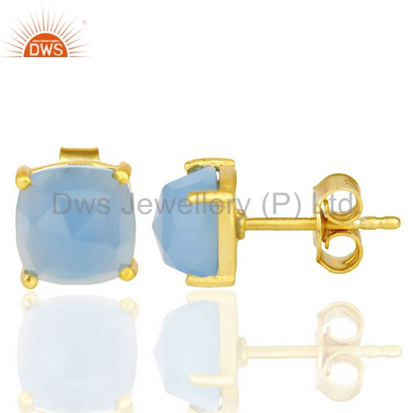 Suppliers 14k Yellow Gold Plated 925 Sterling Silver Blue Chalcedony Gemstone Earring