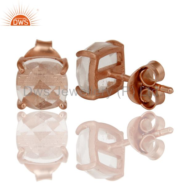 Suppliers 18K Rose Gold Plated Sterling Silver Cushion Cut Crystal Prong Set Stud Earrings