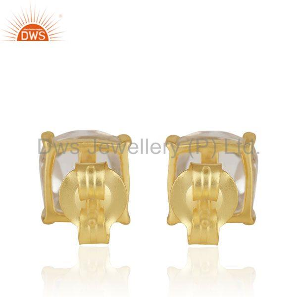 Suppliers Crystal Quartz Prong Setting Gemstone Gold Plated Silver Stud Earrings