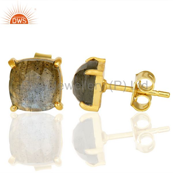 Suppliers 14k Yellow Gold Plated 925 Sterling Silver Labradorite Earring Jewelry