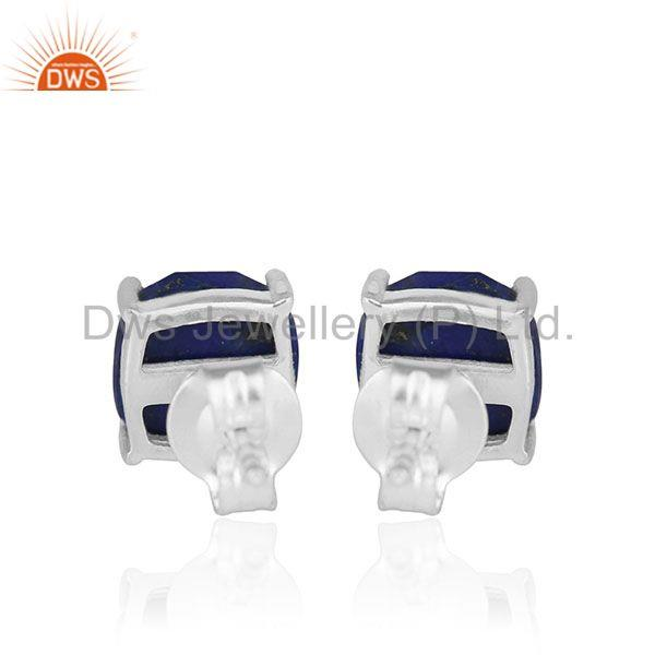 Suppliers Lapis Lazuli Gemstone 925 Silver Handmade Custom Stud Earrings Manufacturer