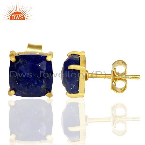 Suppliers 14k Yellow Gold Plated 925 Sterling Silver Lapis Lazuli Stud Earring Jewelry