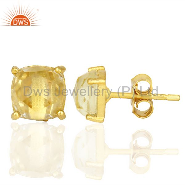 Suppliers 14k Yellow Gold Plated 925 Sterling Silver Lemon Topaz Stud Earring Jewelry