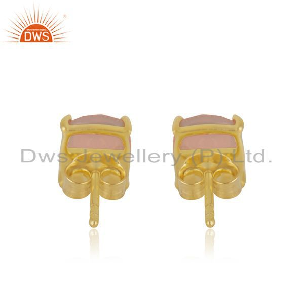 Suppliers Rose Chalcedony Gemstone 925 Silver Girls Stud Earring Manufacturer of Jewelry