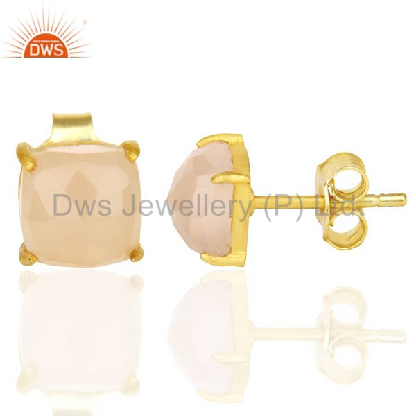 Suppliers 18k Gold Plated Sterling Silver Cushion Cut Chalcedony Prong Set Stud Earrings
