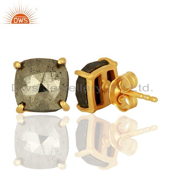 Suppliers Gold Plated Pyrite Gemstone Stud Earrings Jewelry Wholesale Supplier