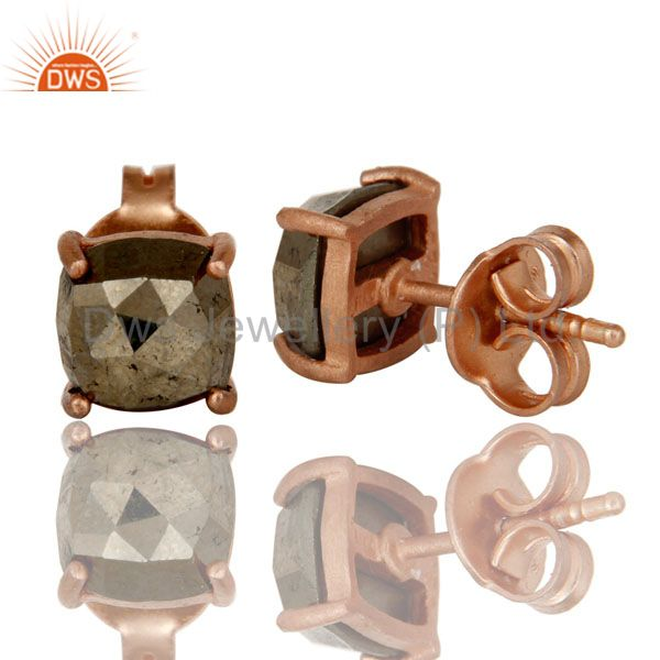 Suppliers 18K Rose Gold Plated Sterling Silver Pyrite Gemstone Prong Set Stud Earrings