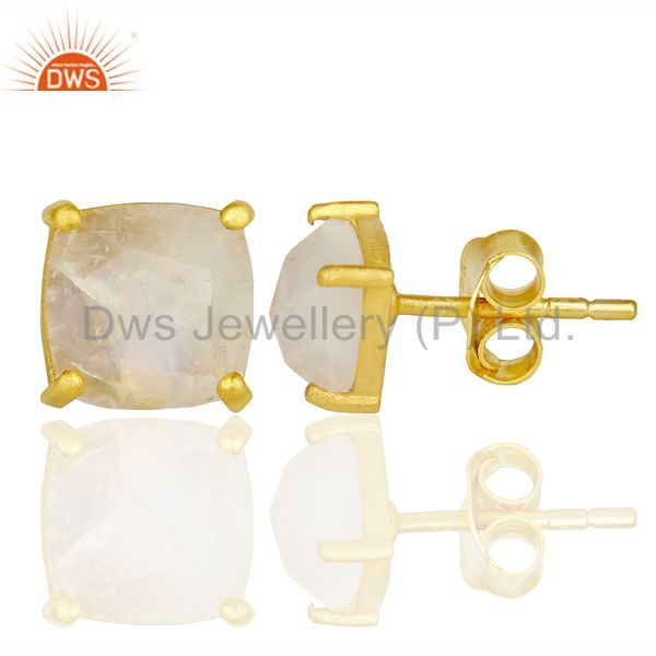 Suppliers Rainbow Moon Stone Rose Cut Stud Earring With 14K Gold Over Sterling Silver