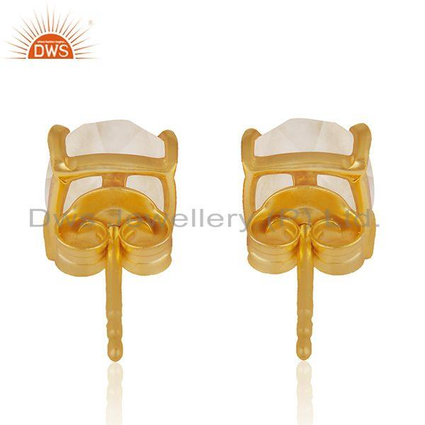 Suppliers Rose Quartz Gold Plated 925 Silver Rose Quartz Gemstone Stud Earring Wholesale