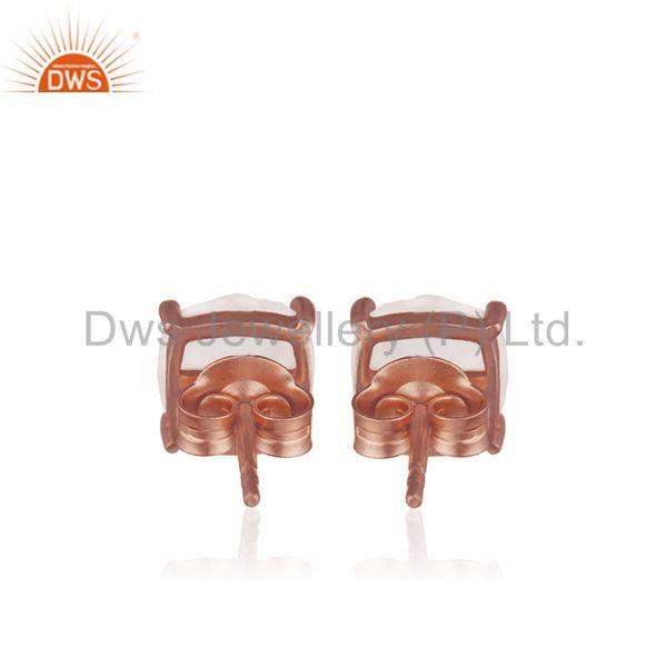 Suppliers Prong Setting Rose Quartz Gemstone 925 Silver Rose Gold Stud Earring Wholesale