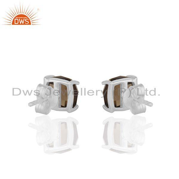 Suppliers Smoky Quartz Gemstone Fine Sterling Silver Handmade Stud Earrings Manufacturer