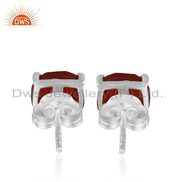 Suppliers Handmade Prong Set Red Onyx Gemstone 925 Silver Girls Stud Earring Wholesale