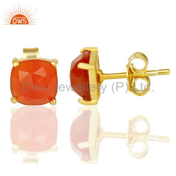 Suppliers Red Onyx Rose Cut Stud Earring With 14K Gold Over Sterling Silver