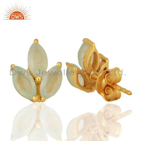 Suppliers Dyed Aqua Chalcedony Leaf Finn 925 Sterling Silver 18K Gold Plated Stud Earrings