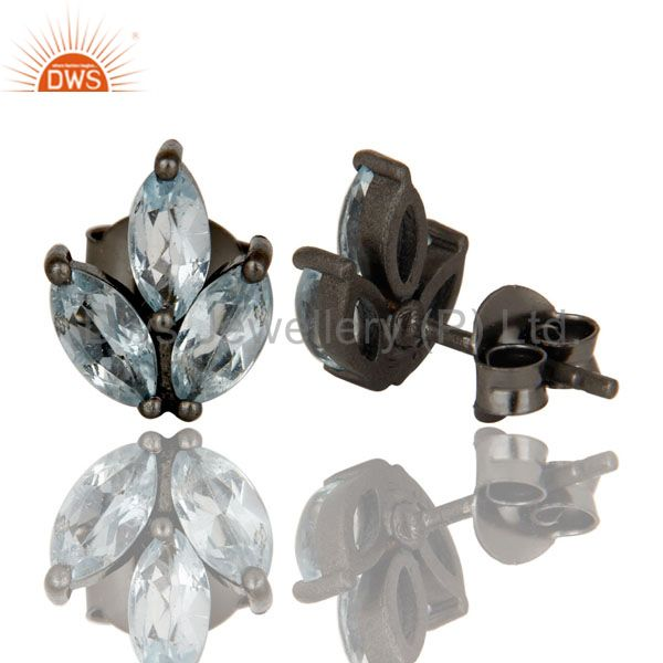 Suppliers Oxidized Sterling Silver Prong Set Blue Topaz Gemstone Stud Earrings