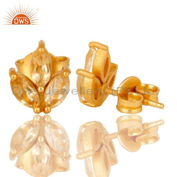 Suppliers 18K Yellow Gold Plated Sterling Silver Citrine Prong Set Gemstone Stud Earrings