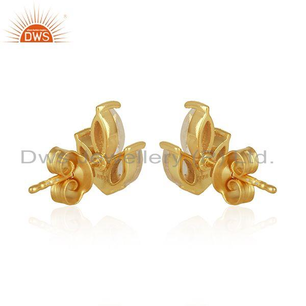 Suppliers Crystal Quartz 925 Sterling Silver Gold Plated Stud Earrings Wholesale Suppliers