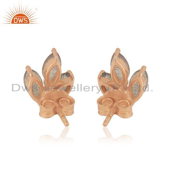 Suppliers Labradorite Gemstone Rose Gold Plated 925 Silver Baby Girls Stud Earring Jewelry