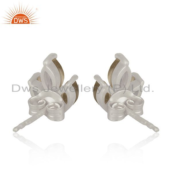 Suppliers Handmade 925 Fine Silver Grey Moonstone Stud Earring for Girls Jewelry Wholesale