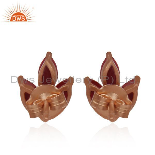 Suppliers Prong Set Ruby Corundum Gemstone Rose Gold Plated 925 Silver Stud Earrings