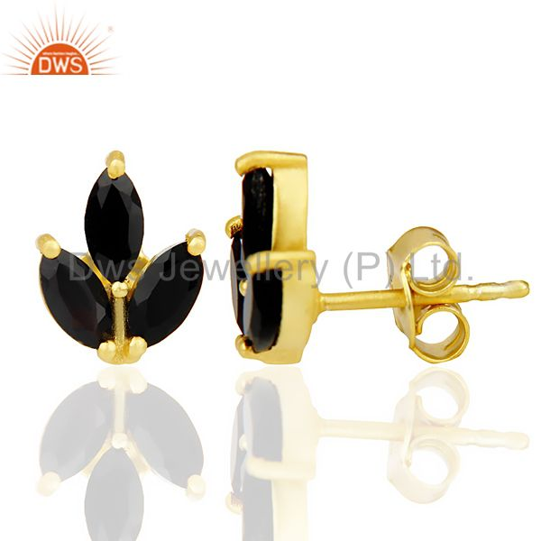 Suppliers Black Onyx Tiny Flower Stud Earring In 14 K Gold Plated Sterling Silver