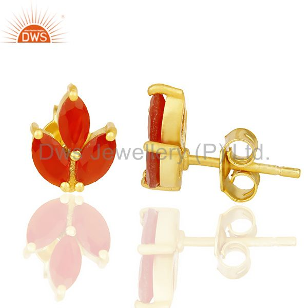 Suppliers Red Onyx Stud 18K Yellow Gold Plated 925 Sterling Silver Earrings Jewelry