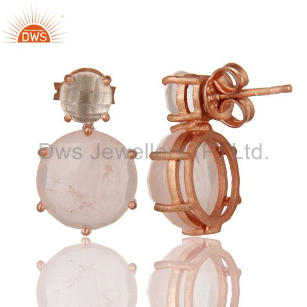 Suppliers 18K Rose Gold Plated Sterling Silver Crystal Quartz And Rose Quartz Stud Earring