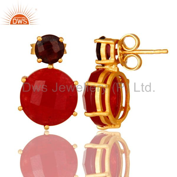 Suppliers 18K Gold Plated Sterling Silver Prong Set Garnet And Red Aventurine Stud Earring