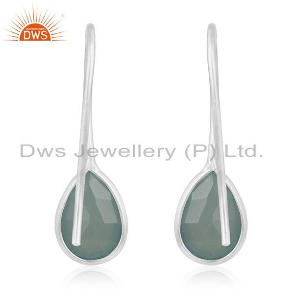 Suppliers Aqua Chalcedony Gemstone 925 Sterling Silver Dangle Earrings Manufacturers India