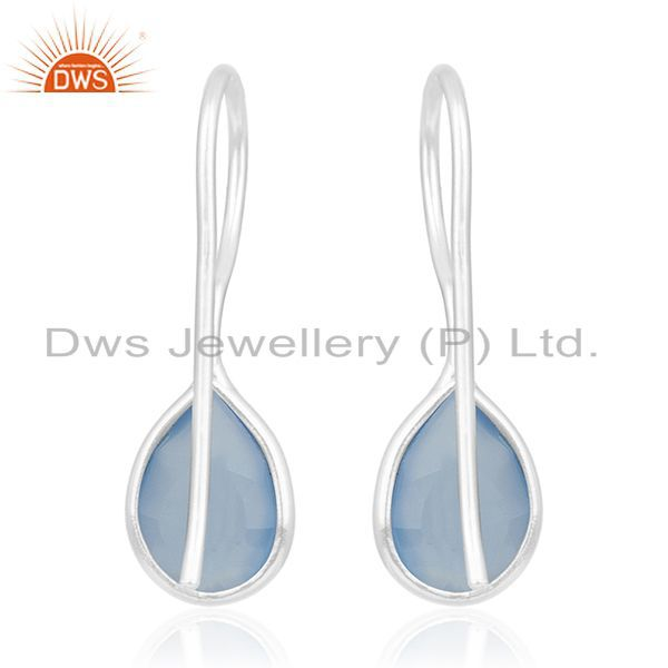 Suppliers Blue Chalcedony Gemstone Handmade 925 Sterling Fine Silver Earring Wholesale