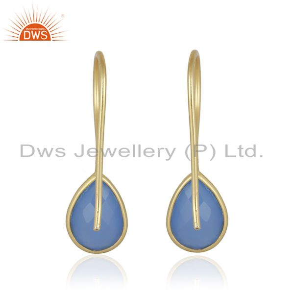 Blue Chalcedony Gemstone Gold Plated 92.5 Sterling Silver Earring From Jaipur India
