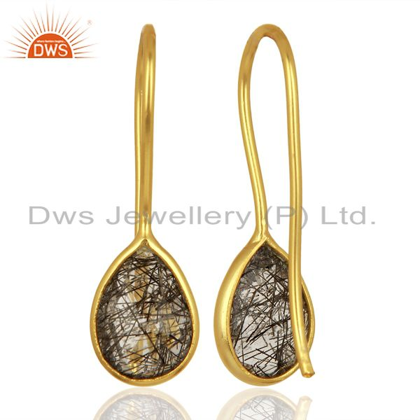 Suppliers Black Rutile Dangle 18K Yellow Gold Plated 925 Sterling Silver Earrings Jewelry