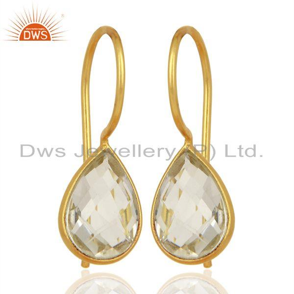 Suppliers Crystal Quartz Dangle 14K Yellow Gold Plated 925 Sterling Silver Earrings