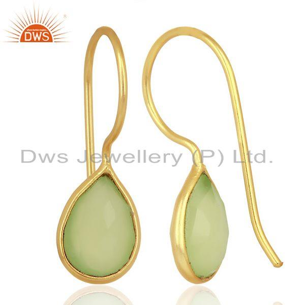 Suppliers Prehnite Chalcedony Pear Bezel Set Drop Gold Plated 92.5 Sterling Silver Earring