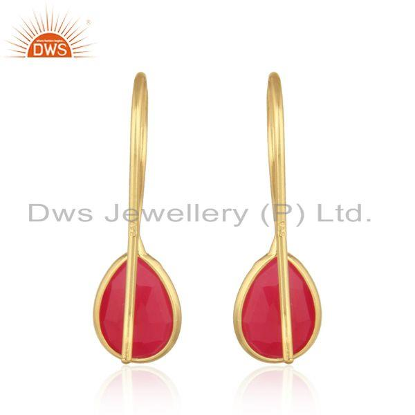 Designer of Bezel set yellow gold on silver drop earring with pink chalcedony