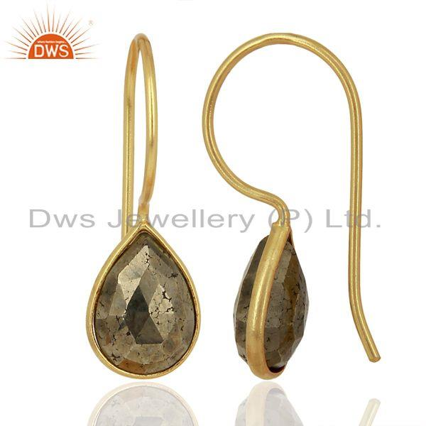 Suppliers Pyrite Drop 14K Yellow Gold Plated 925 Sterling Silver Earrings Jewelry