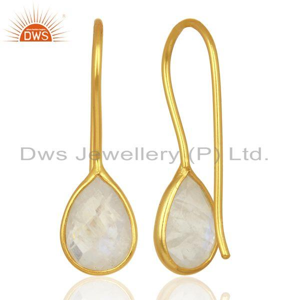 Suppliers Rainbow Moonstone Dangle 14K Yellow Gold Plated Sterling Silver Earrings Jewelry