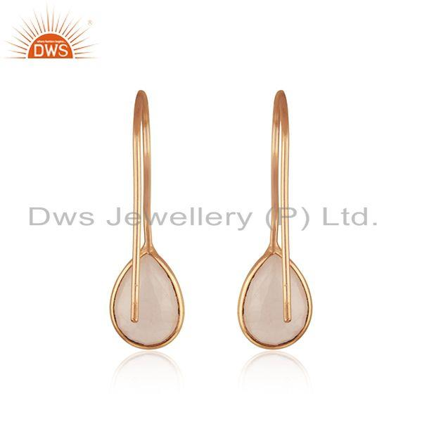 Suppliers Handmade Rose Gold Plated 925 Silver Rose Quartz Gemstone Drop Earring Wholesale